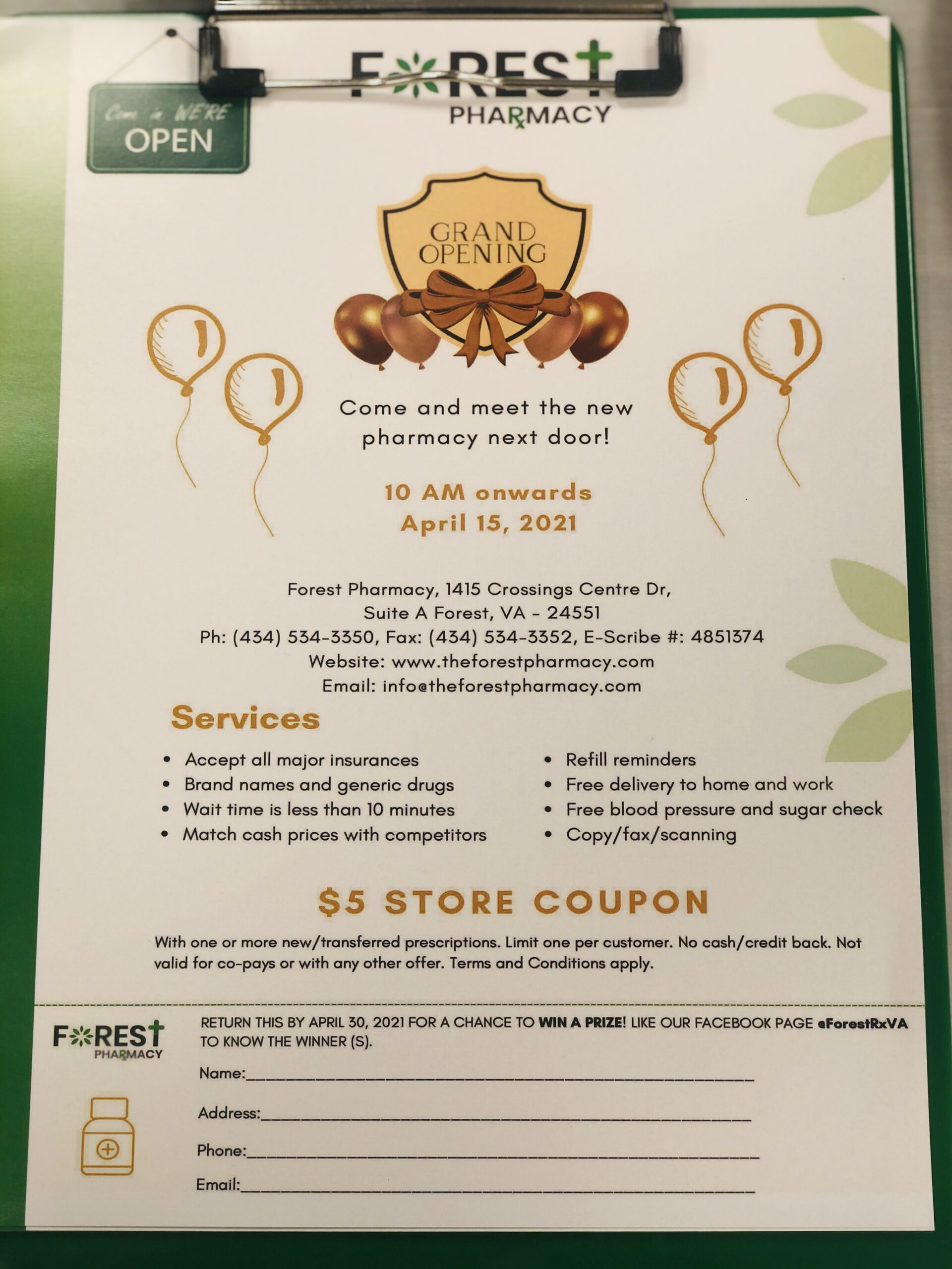 Forest Pharmacy Grand Opening Flyer